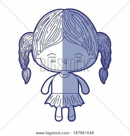 blue shading silhouette of kawaii little girl with braided hair and facial expression tired vector illustration