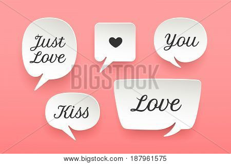Set of paper bubble cloud talk with shadow. White paper isolated cloud talk silhouette with text Love, Kiss, Just Love, symbol heart. Design elements for message, social network. Vector Illustration
