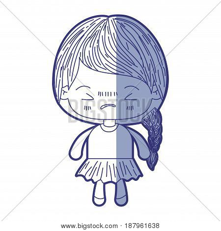 blue shading silhouette of kawaii little girl with braided hair and facial expression angry with closed eyes vector illustration
