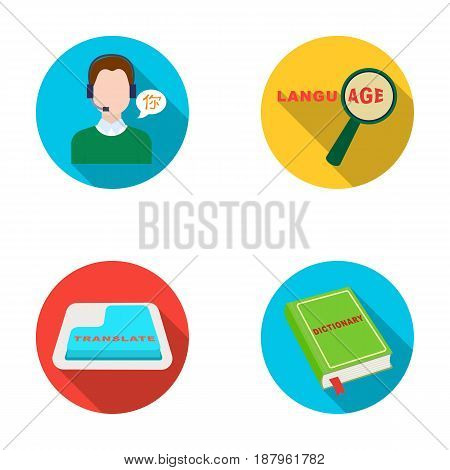 A translator in headphones, a magnifying glass showing translation, a button with an inscription, a book with a bookmark. Interpreter and translator set collection icons in flat style vector symbol stock illustration .