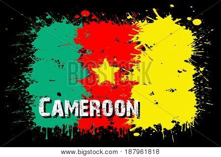 Flag Of Cameroon From Blots Of Paint