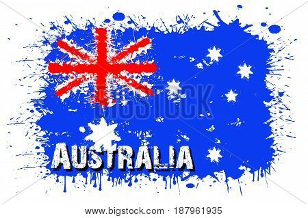 Flag Of Australia From Blots Of Paint