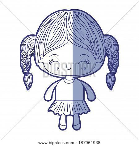 blue shading silhouette of kawaii little girl with braided hair and facial expression happiness with closed eyes vector illustration