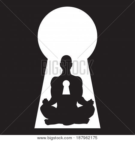 Silhouette of a meditating man in a keyhole vector