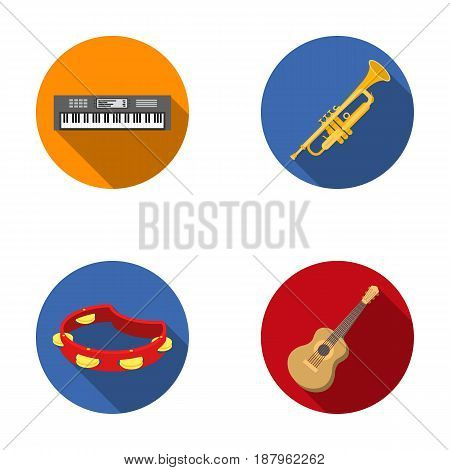 Electro organ, trumpet, tambourine, string guitar. Musical instruments set collection icons in flat style vector symbol stock illustration .