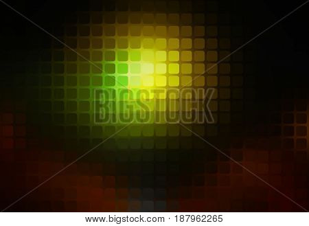 Green brown yellow black vector abstract rounded corners square tiles mosaic over blurred background