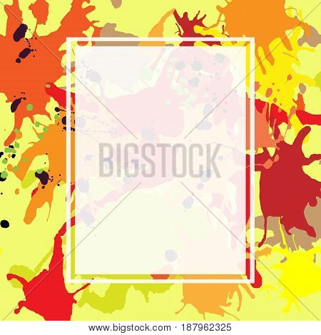 Red orange maroon artistic ink splashes vector background. Greeting card or invitation template with semi-transparent rectangle frame for text