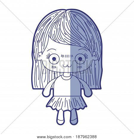 blue shading silhouette of kawaii cute little girl with straight hair and facial expression depressed vector illustration