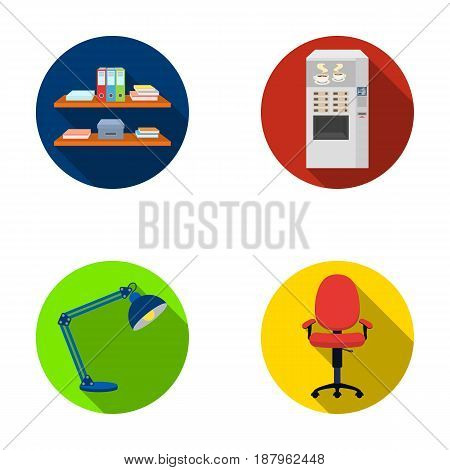 Shelves, folders and notebooks with business records, a coffee machine with cups, an armchair with a backrest on wheels, a desk lamp. Office Furniture set collection icons in flat style vector symbol stock illustration .