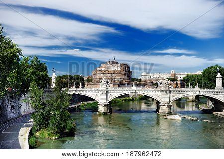 Saint Angel Castle In Rome, Lazio, Italy