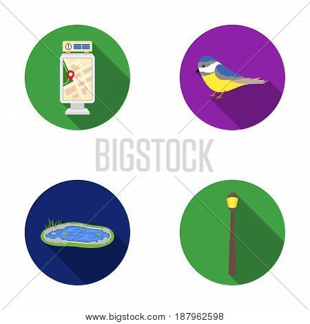 Territory plan, bird, lake, lighting pole. Park set collection icons in flat style vector symbol stock illustration .