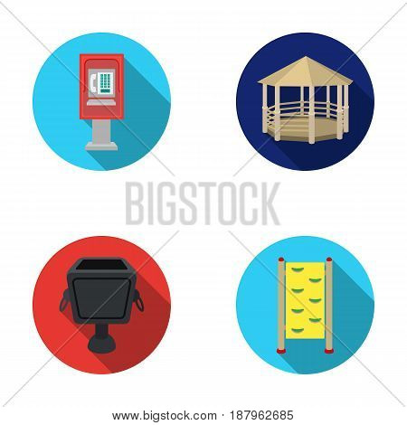 Telephone automatic, gazebo, garbage can, wall for children. Park set collection icons in flat style vector symbol stock illustration .