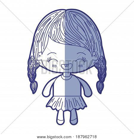 blue shading silhouette of kawaii little girl with braided hair and facial expression laughing vector illustration