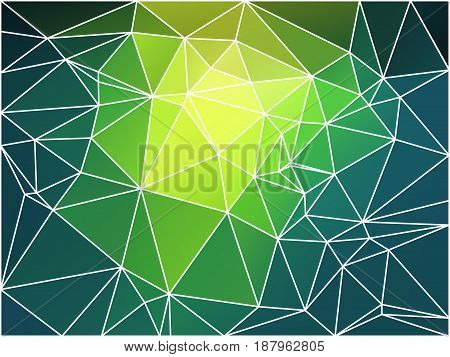 Bright yellow green abstract low poly geometric background with white triangle mesh.