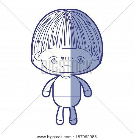 blue shading silhouette of kawaii little boy with facial expression bored vector illustration