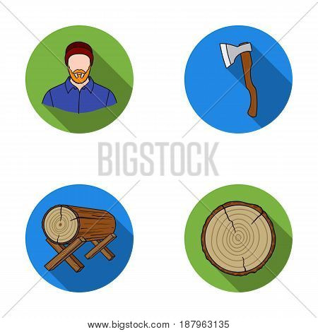Carpenter, log on supports, ax, cut logs. Sawmill and timber set collection icons in flat style vector symbol stock illustration .