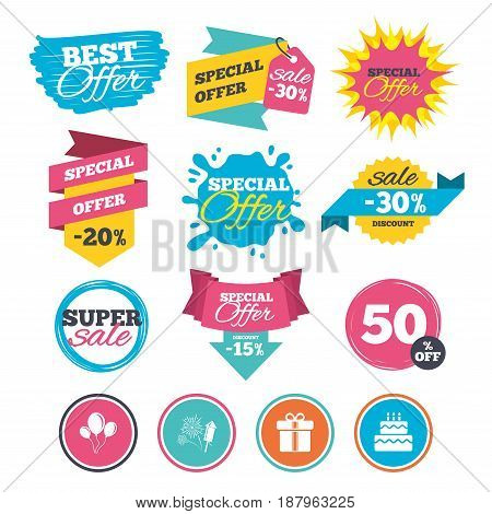 Sale banners, online web shopping. Birthday party icons. Cake and gift box signs. Air balloons and fireworks symbol. Website badges. Best offer. Vector