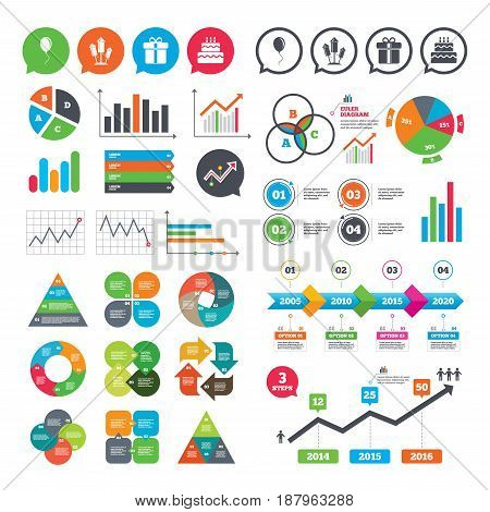 Business charts. Growth graph. Birthday party icons. Cake and gift box signs. Air balloons and fireworks rockets symbol. Market report presentation. Vector
