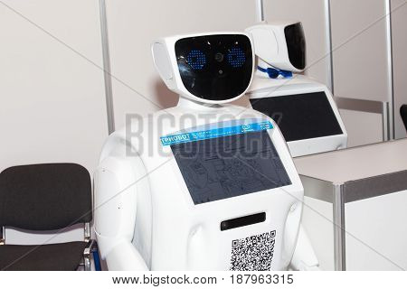 Moscow, Russia - November, 2016: Programmable humanoid promo robot on Robotics Expo in Moscow, Russia