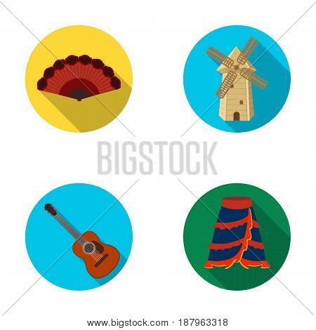 Fan Spanish, mill, guitar, skirt for national Spanish dances. Spain country set collection icons in flat style vector symbol stock illustration .