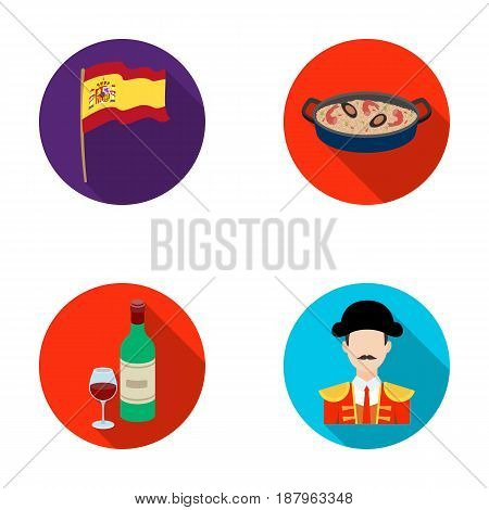 Flag with the coat of arms of Spain, a national dish with rice and tomatoes, a bottle of wine with a glass, a bullfighter, a matador. Spain country set collection icons in flat style vector symbol stock illustration .