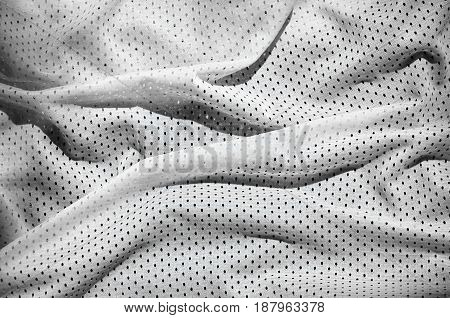 Close Up Of White Polyester Nylon Sportswear Shorts To Created A Textured Background