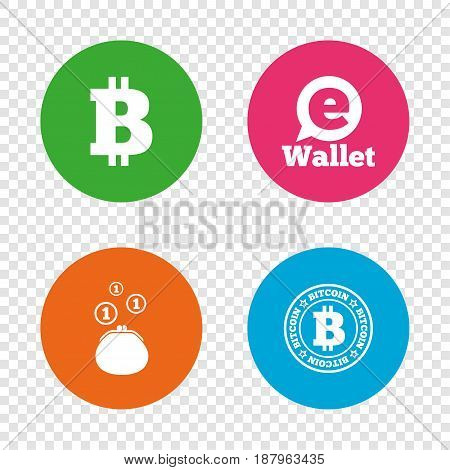 Bitcoin icons. Electronic wallet sign. Cash money symbol. Round buttons on transparent background. Vector