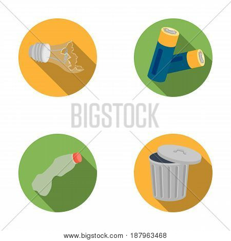 Broken light bulb, used batteries, breaking a plastic bottle, garbage can with a sign.Garbage and trash set collection icons in flat style vector symbol stock illustration .
