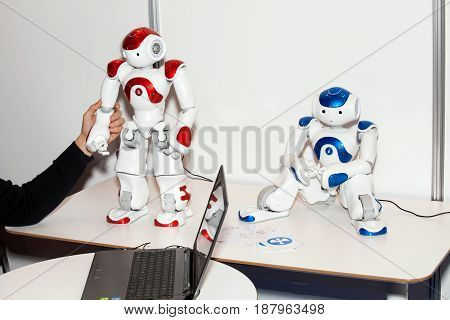 Moscow, Russia - November, 2016: Programmable humanoid robot NAO on Robotics Expo in Moscow, Russia