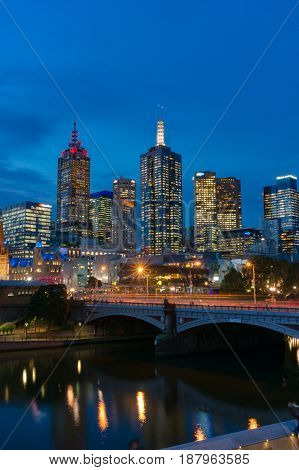 Melbourne Cityscape With Traffic At Princes Bridge At Night
