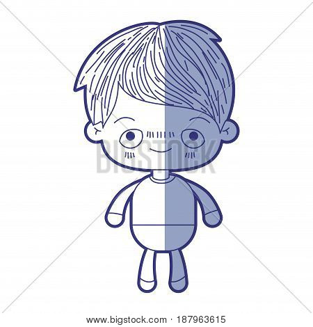 blue shading silhouette of kawaii little boy with embarrassed facial expression vector illustration