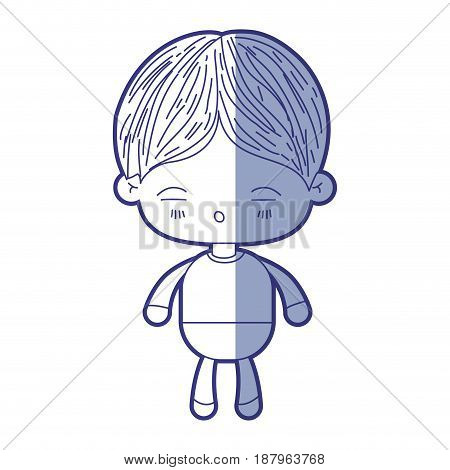 blue shading silhouette of kawaii little boy with facial expression of tired vector illustration