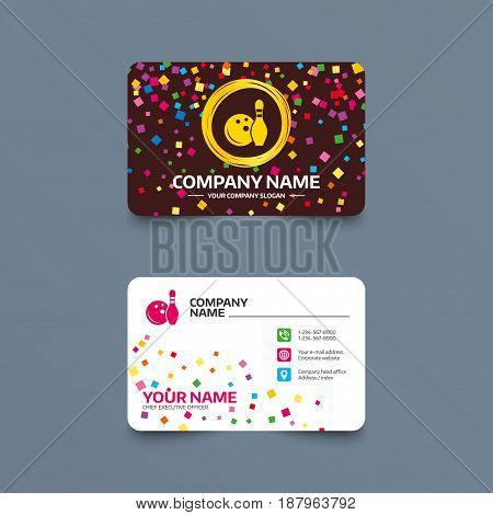 Business card template with confetti pieces. Bowling game sign icon. Ball with pin skittle symbol. Phone, web and location icons. Visiting card  Vector