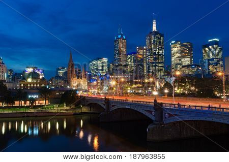 Melbourne Central Business District Cityscape With Princes Bridge At Night