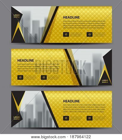 Gold Banner template vector Horizontal header advertising business flyer layout website