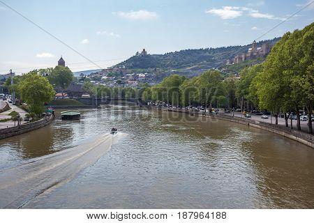 Beautiful View Of Tbilisi From The Bridge Of Peace, Georgia