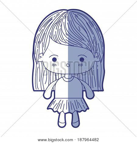 blue shading silhouette of kawaii little girl with straight hair and facial expression surprised vector illustration