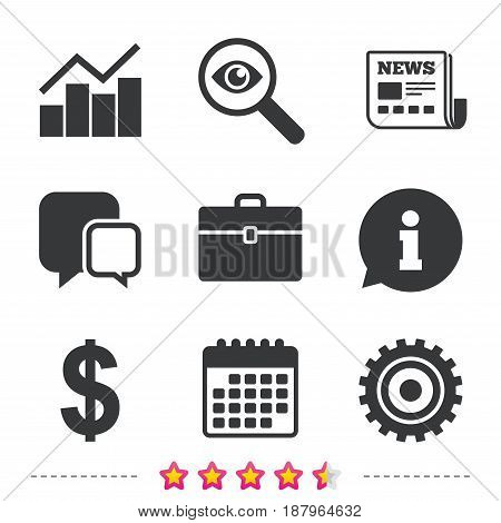 Business icons. Graph chart and case signs. Dollar currency and gear cogwheel symbols. Newspaper, information and calendar icons. Investigate magnifier, chat symbol. Vector