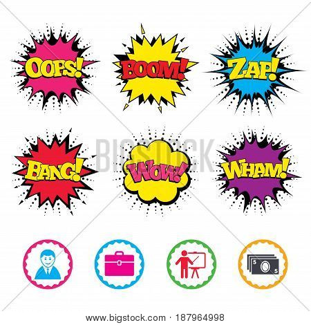 Comic Wow, Oops, Boom and Wham sound effects. Businessman icons. Human silhouette and cash money signs. Case and presentation symbols. Zap speech bubbles in pop art. Vector