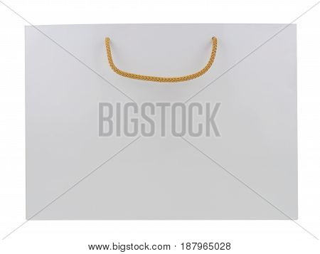 White paper shopping bag isolated on white background.