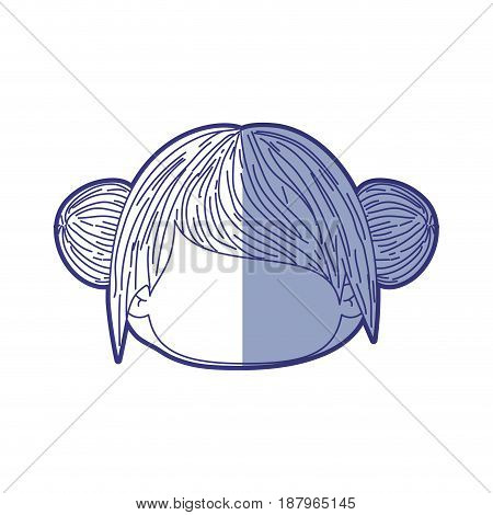 blue shading silhouette of faceless head of little girl with double buns hairstyle vector illustration