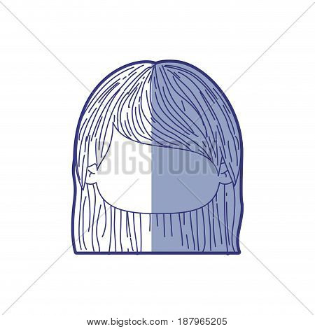 blue shading silhouette of faceless head of little girl with straight hair vector illustration