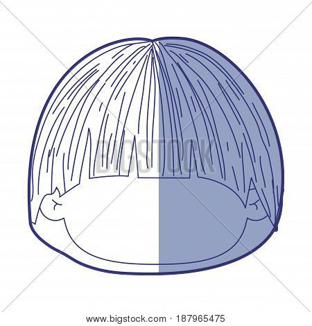 blue shading silhouette of faceless head of little kid with mushroom hairstyle vector illustration