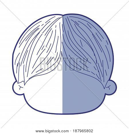 blue shading silhouette of faceless head of little boy with short hair vector illustration
