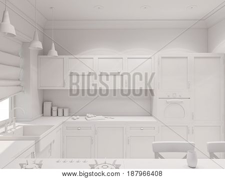 3d illustration of the interior design of the beautiful kitchen in a scandinavian classic style. Render the visualization of the interior in a modern without textures and materials in gray tones.