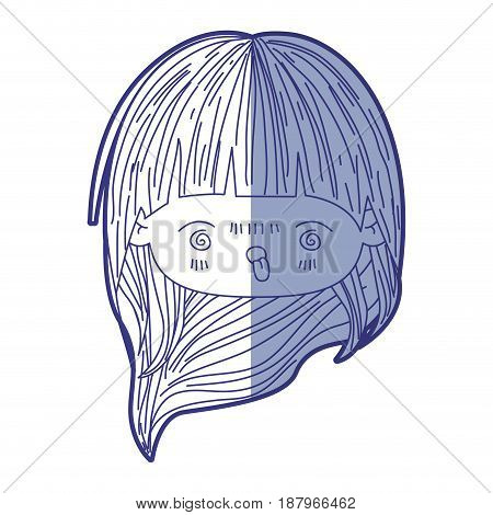 blue shading silhouette of kawaii head little girl with long hair and facial expression furious vector illustration
