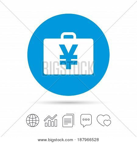 Case with Yen JPY sign icon. Briefcase button. Copy files, chat speech bubble and chart web icons. Vector
