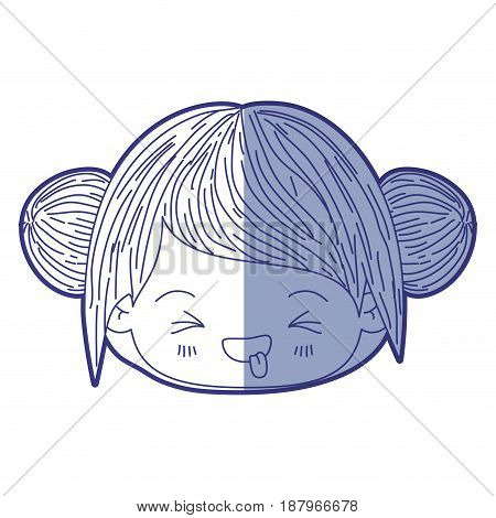 blue shading silhouette of kawaii head little girl with collected hair and facial expression unpleasant vector illustration
