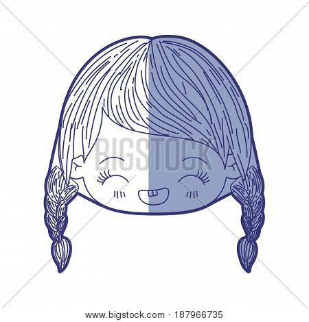 blue shading silhouette of kawaii head little girl with braided hair and facial expression laughing vector illustration