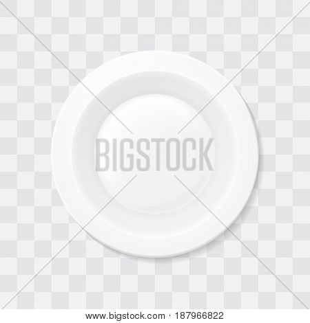 Empty white soup plate. Top view Realistic bowl vector
